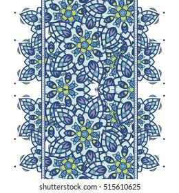 Seamless pattern border with mandala elements. Arabic vintage decorative ornament. Vector background.