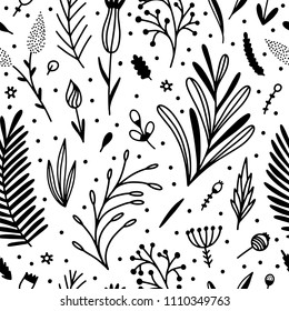 Seamless pattern with botanical graphics: flowers, plants, leaves, floral illustrations