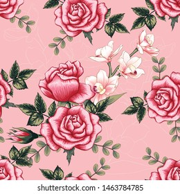 Seamless pattern botanical pink Orchid red Rose flowers on abstract pastel background.Vector illustration drawing watercolor style.For used wallpaper design,textile fabric or wrapping paper.