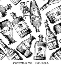 """Seamless pattern with bottles of alcohol. Vector illustration in vintage engraved style. Inscription on the bottle in Japanese: nihonshu (日本酒, """"Japanese liquor"""")"""