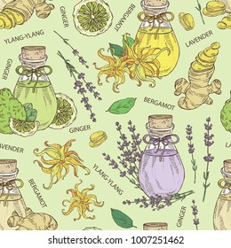 Seamless pattern with bottles with essential oils: essential oil of lavender, ginger, bergamot and ylang ylang. Cosmetic, perfumery and medical essential oils.Vector set hand drawn illustration