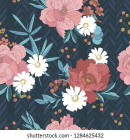 Seamless pattern with a bouquet of flowers, leaves, berries, twigs