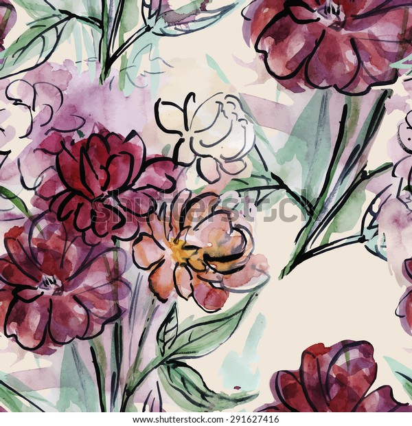 Seamless pattern with bouquet of watercolor peonies.Vector illustration. Perfect for textile design.