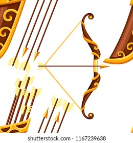 Seamless pattern. Bow weapon with arrows and quiver. Brown bow with gold ornaments. Wooden quiver. Medieval and fantasy weapon. Flat vector illustration on white background.