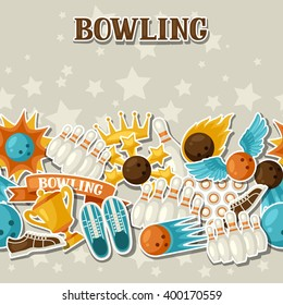 Seamless pattern with bowling items. Background made without clipping mask. Easy to use for backdrop, textile, wrapping paper.