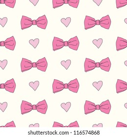 Seamless pattern with bows and hearts. Seamless pattern can be used for textiles, wrapping paper, wallpaper, pattern fills, web page background, surface textures.