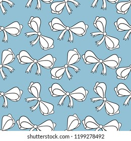 Seamless pattern with bows isolated on blue. Color bright bowknots endless texture. Overwhelming bow decorative elements Vector cartoon illustration.