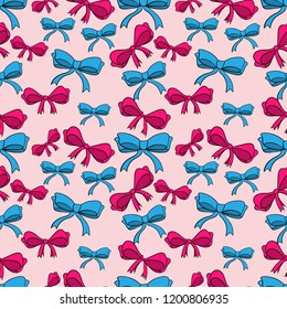 Seamless pattern with bows isolated on pink. Color bright bowknots endless texture. Overwhelming bow decorative elements Vector cartoon illustration.