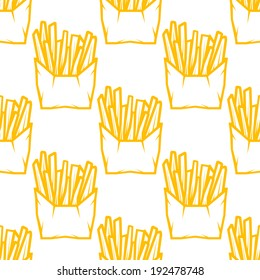 Seamless pattern of boxes of takeaway French fries in a golden outline in square format