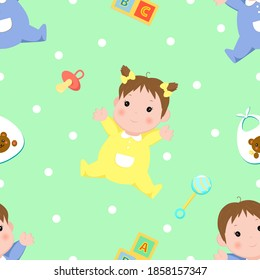 Seamless pattern with boys in blue clothes and girl in yellow clothes, childrens toys and elements, mint background. Pattern for decorating gifts baby shower, fabrics and clothes for kids.