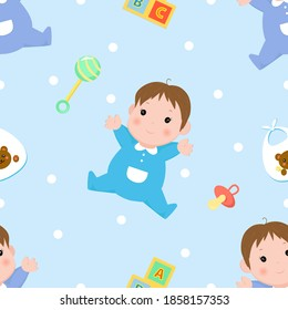 Seamless pattern with boys in blue and dark blue clothes, childrens toys and elements, blue background. Pattern for decorating gifts baby shower, fabrics and clothes for kids.