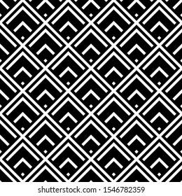 Seamless pattern. Brackets, checks, tilted stripes wallpaper. Chevrons, rhombuses, crossed diagonal lines ornament.Curves, polygons, slanted pinstripe illustration. Geometric background. Folk motif.