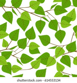 Seamless pattern with branch of birch.