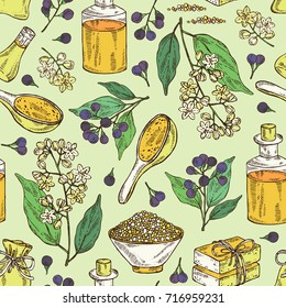 Seamless pattern with branch of camphor tree, leaves, berries, camphor flowers. Essential oil, soap and bath salt . Cosmetic, perfumery and medical plant. Vector hand drawn illustration.