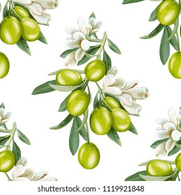 Seamless pattern of a branch of olives and flowers on a white background.