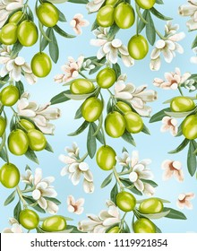 Seamless pattern of a branch of olives and flowers on a blue background.