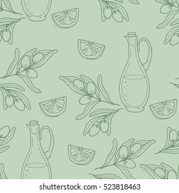 Seamless pattern with branch olives, lemon slices and a glass bottle of premium virgin olive oil. Can be used like pattern for kitchen textile, wrapping paper and cards. Vector illustration.