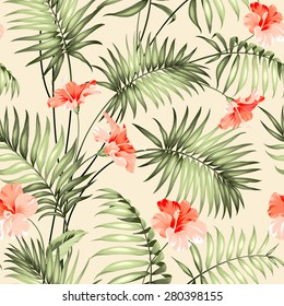 Seamless pattern branch of a palm tree. Vector illustration.