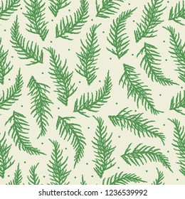 Seamless pattern with branches of coniferous tree. Can be used on packaging paper, fabric, background for different images, etc.