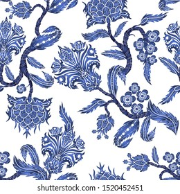 Seamless pattern with branches flowers in chinoiserie style. Japanese blue ceramic print.