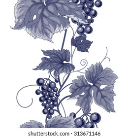 Seamless pattern with branches, leaves and berries of wild grapes. Vector. Designs for textiles, paper, fabrics, wallpaper. Black and white.