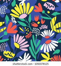 Seamless pattern with bright abstract flowers and leaves on a blue background. Vector illustration.