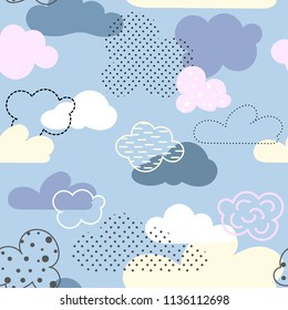 Seamless pattern with bright cartoon clouds. It is executed by means of graphic receptions: various textures, spots, strips, contours. Great for prints, textiles, covers, gift wrappers, backdrops