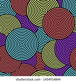 Seamless pattern. Bright colored circles. Colorful illusion. Vector drawing. Background. Texture.
