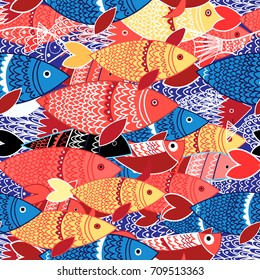 Seamless pattern of bright colorful fish on blue