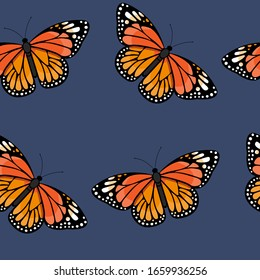 Seamless pattern with bright colorful  monarch butterflies on dark background. Vector illustration