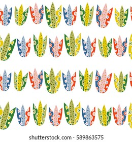 Seamless pattern of bright colorful tulips. For printing on packaging, bags, laptop, furniture, etc. Vector.