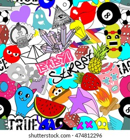 Seamless pattern bright colorful vector stickers characters background, funny graffiti, street art style