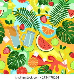 SEAMLESS PATTERN WITH BRIGHT DRINKS AND FRUITS ON A YELLOW BACKGROUND IN VECTOR