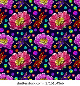 Seamless pattern with bright flowers and dragonflies in the style of stained glass, flowers and insects on a dark blue background