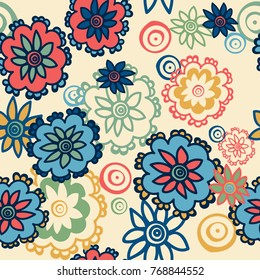 Seamless pattern with bright flowers on a yellow background. Vector.