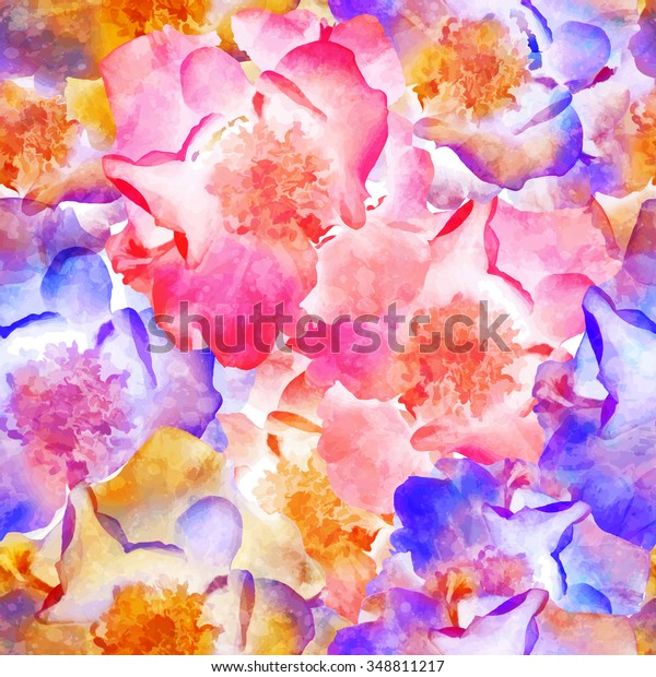 Seamless pattern with bright flowers wild rose. Vector, EPS10.