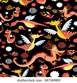 Seamless pattern of bright funny dragon on a black background