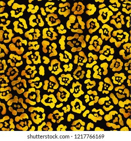 Seamless pattern of bright gold leopard spots on black background.