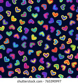Seamless Pattern of Bright Gradient Colorful Hearts on Dark Background. Creative Continued Ornamental Background.