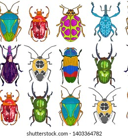 Seamless pattern with bright hand drawn insects
