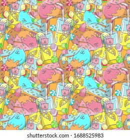 Seamless pattern, bright multi-colored cats and donuts, a glass of lemonade with a straw, doodle style drawing