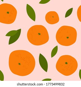 seamless pattern with bright orange citruses on a light coloured background. ripe oranges, tangerines and leaves. modern abstract design for packaging, print for clothes, fabric