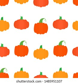 Seamless pattern with bright pumpkins on white background. For fall decoration, autumn fest invitations, fabric, kitchen textile and helloween print, web page background, gift and wrapping paper.