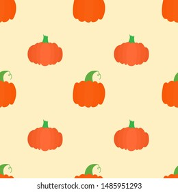 Seamless pattern with bright pumpkins on yellow background. For fall decoration, autumn fest invitations, fabric, kitchen textile and helloween print, web page background, gift and wrapping paper.