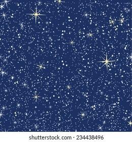 Seamless pattern of bright starry night