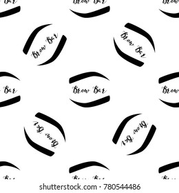 Seamless pattern with brow bar logo and brows. Professional makeup artist background with woman black eyebrow. Black fashion illustration on white backdrop. Graphic art style vector illustration.
