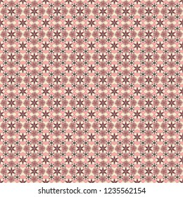Seamless pattern in brown, beige and pink colors. Vector cute floral pattern in the small flowers. Hand drawn abstract ditsy flowers.