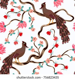 seamless pattern with brown bird, with decorative tail on woody vine with shoots - with pink small  and big flowers on a light background