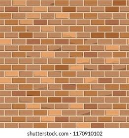 Seamless pattern. Brown brick wall. Vector design.
