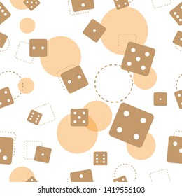 Seamless pattern of brown dice with light brown circle on background and with white background.